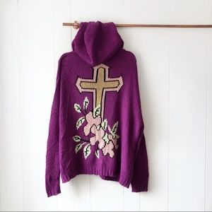 Wildfox Gold Label Floral Cross Cardigan Sweater